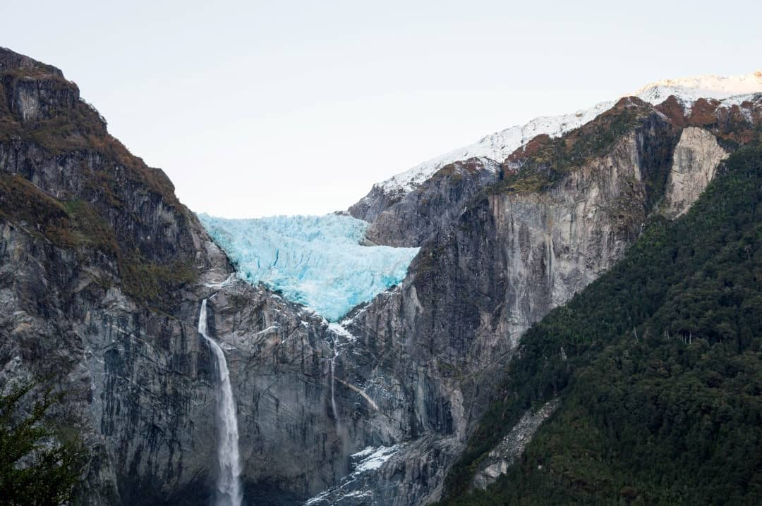 The hanging glacier in Queulat National Park.