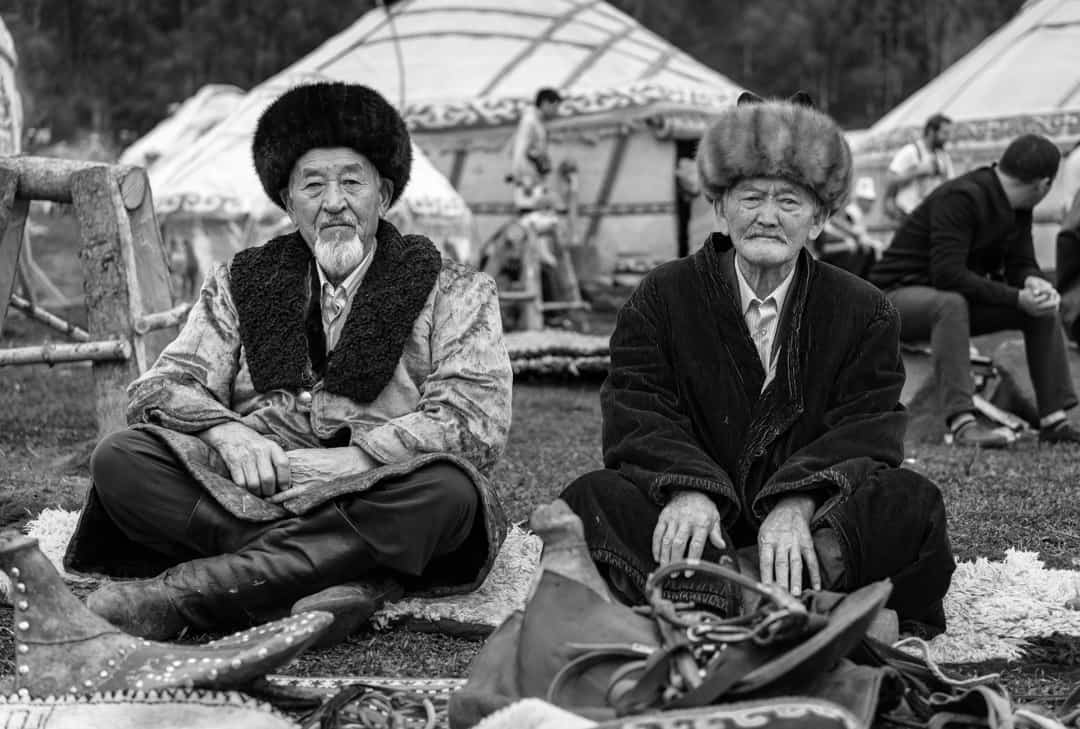Old Men Black White People Of World Nomad Games Kyrgyzstan