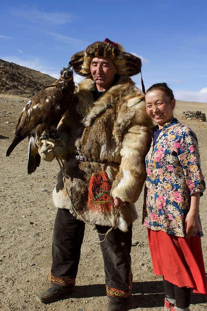 Aisholpan Parents Mongolian Golden Eagle Festival