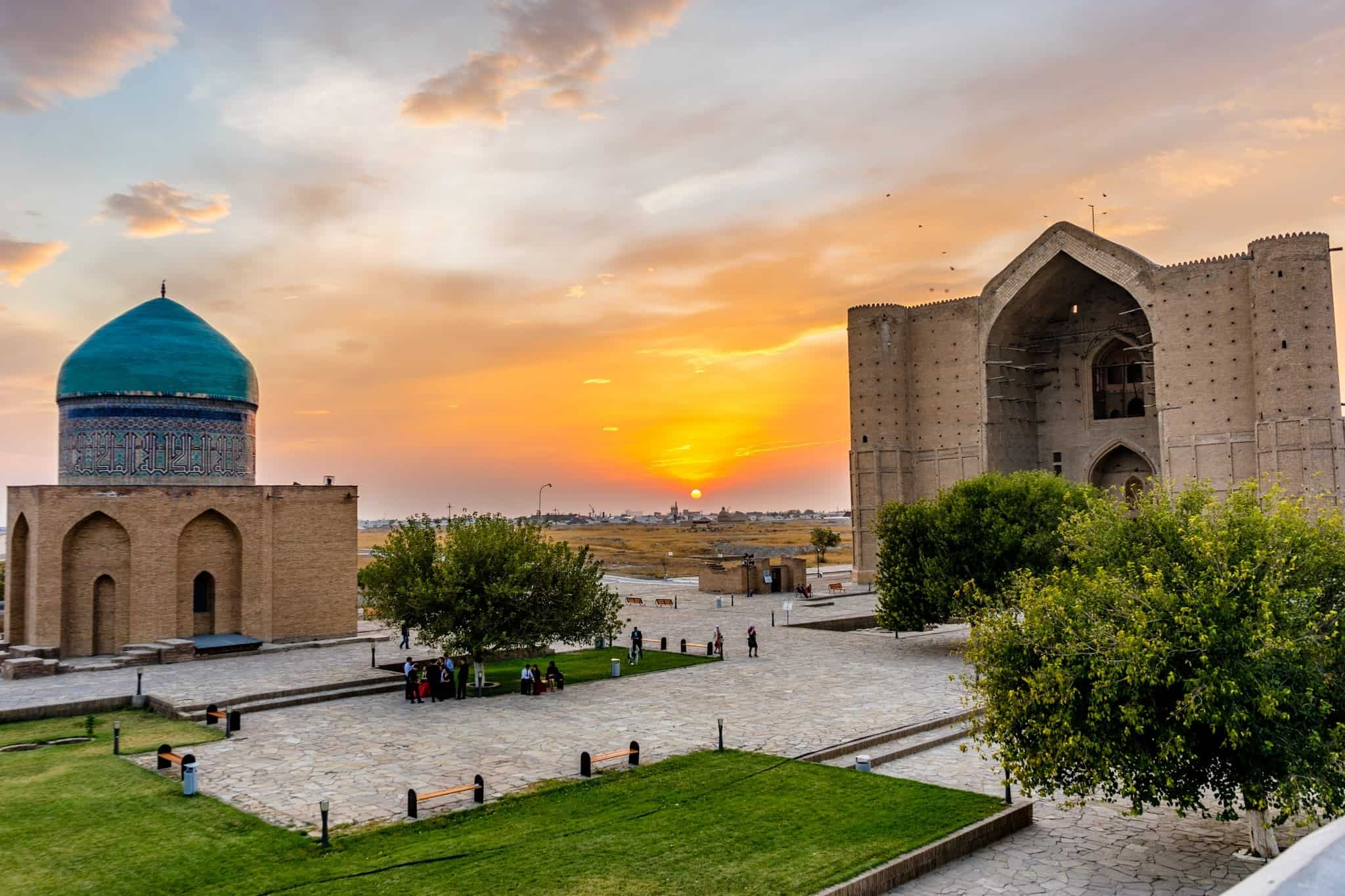 Sunset The Mausoleum Of Khawaja Ahmed Yasawi Turkistan