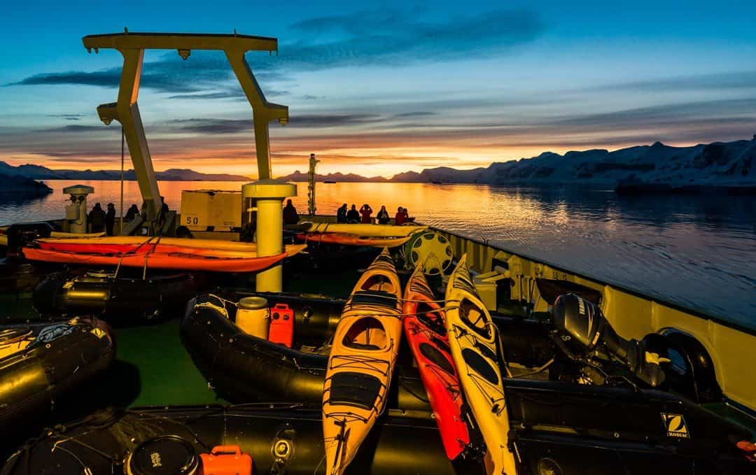 Kayaking Antarctica One Ocean Expeditions Sunset