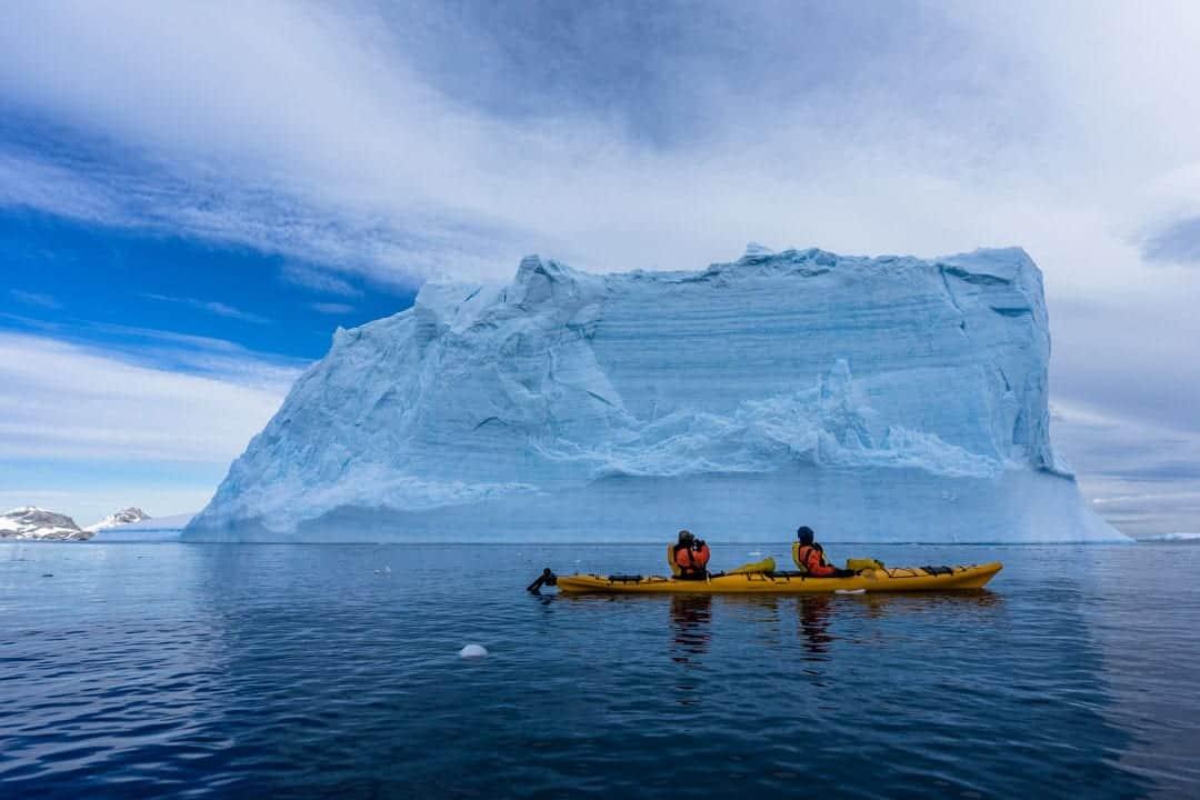 Kayakers Antarctica Iceberg