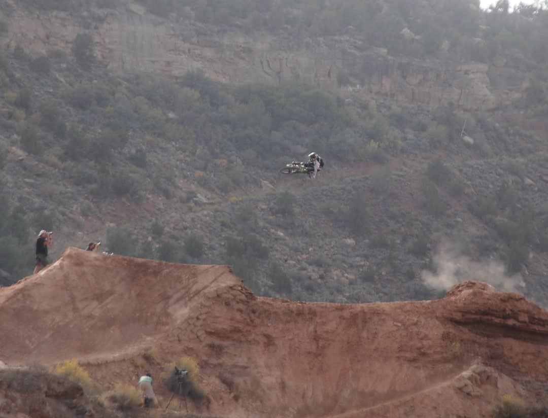 A Rider Attacks The Course At The Redbull Rampage