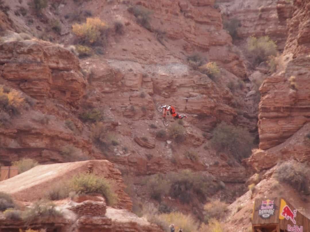 A Rider Attempting The Canyon Jump At Redbull Rampage