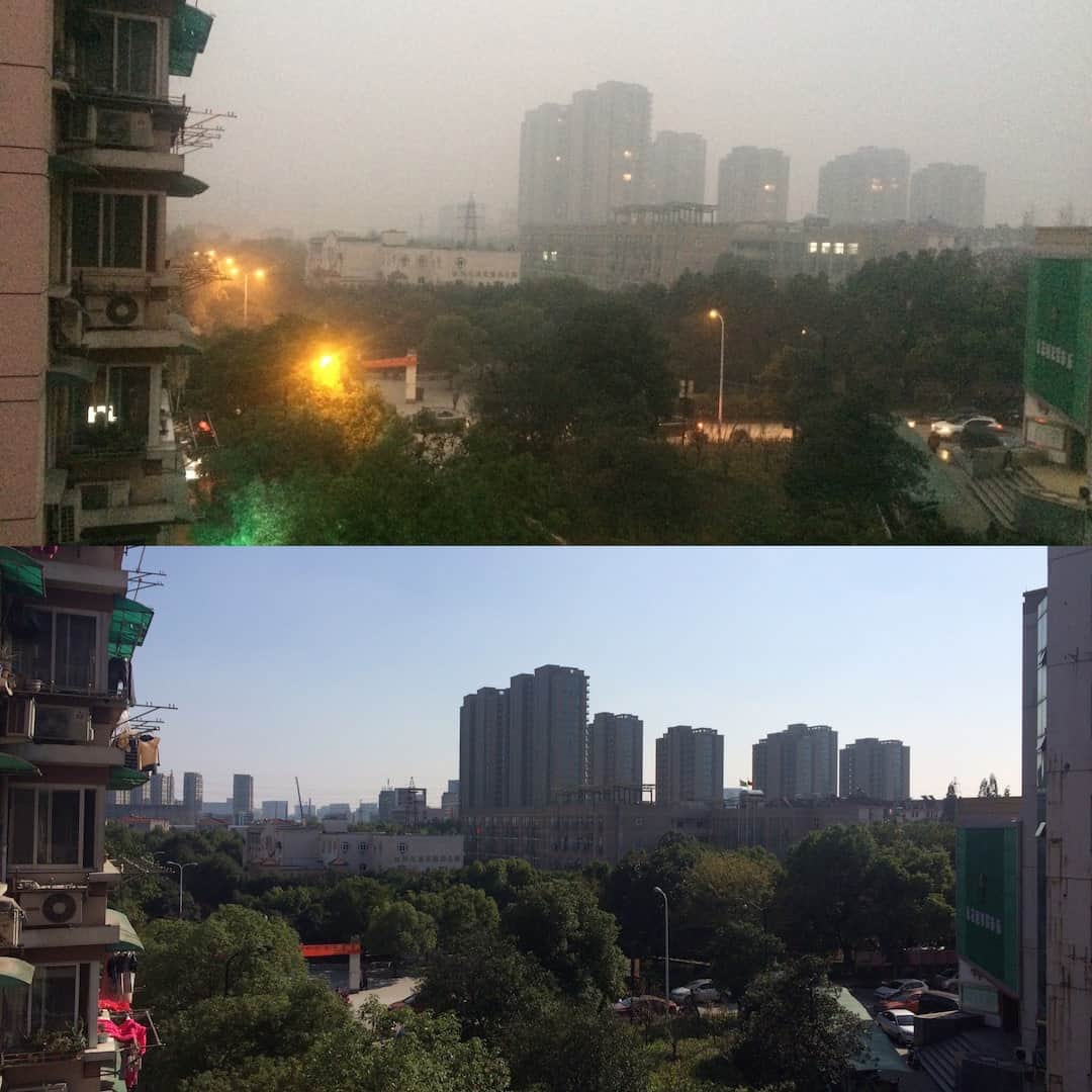 The View From Our Window On A Polluted Versus Clear Day - Things To Do In Hangzhou