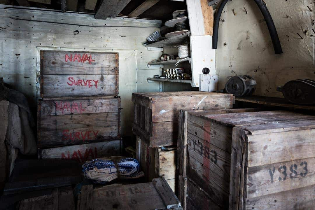 Navy Boxes Wordie House Antarctica
