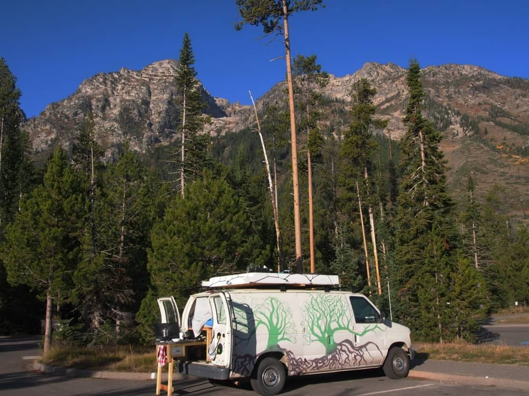 The General Stealth Camped At A Trailhead In Grand Teton National Park Wyoming