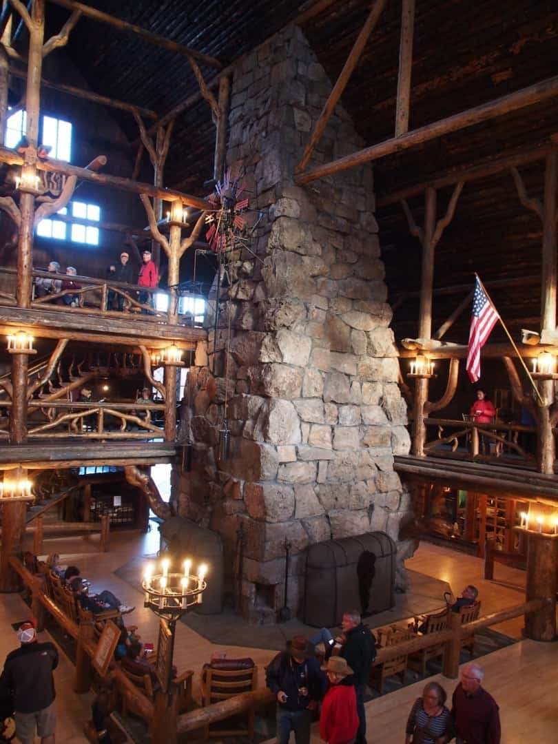 The Massive Stone Fireplace At Old Faithful Inn At Yellowstone National Park, Wyoming