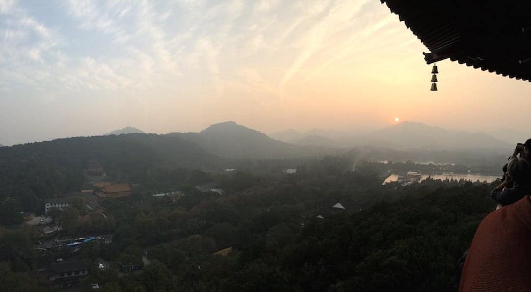 View From The Top Of Leifeng Pagoda. The Pollution Is Bad But It Makes The Sunset Weirdly Beautiful - Things To Do In Hangzhou