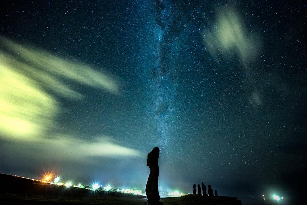Moai Easter Island Milky Way