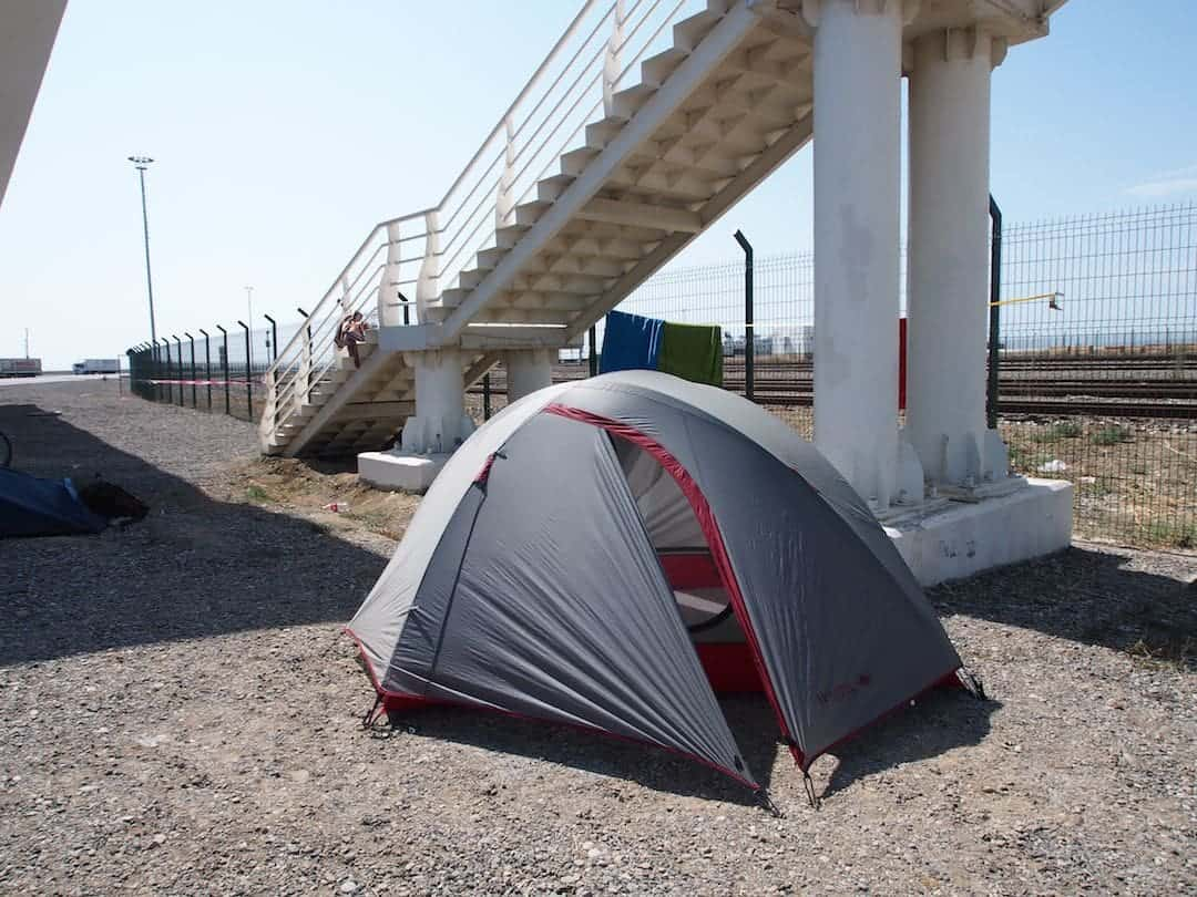 Our campsite in the carpark at Aktau port.