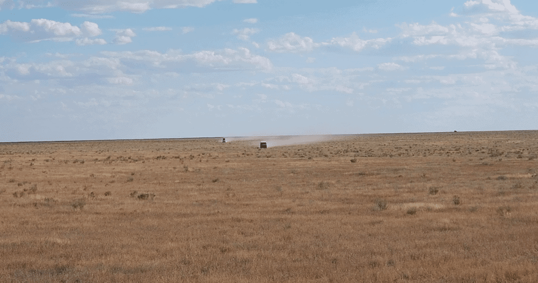 Our convoy in the Kazakhstan Steppe