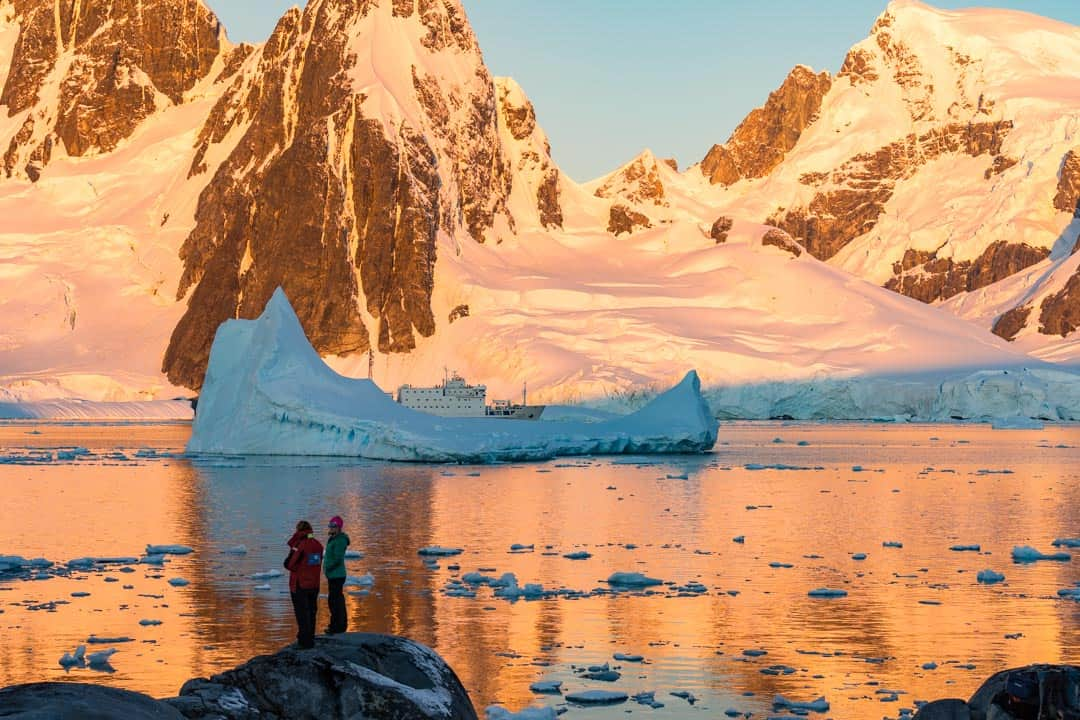 Sunset Hovgaard island Camping In Antarctica