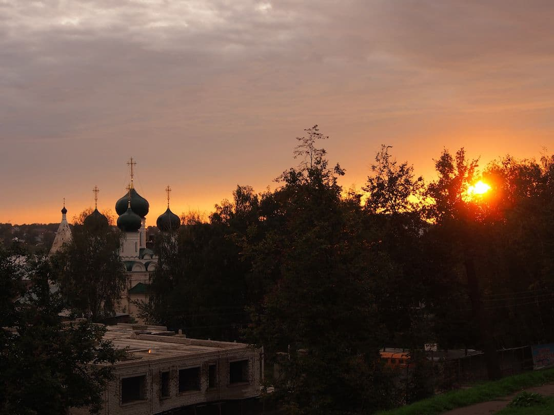 Sunset over a church in Kostroma, Russia