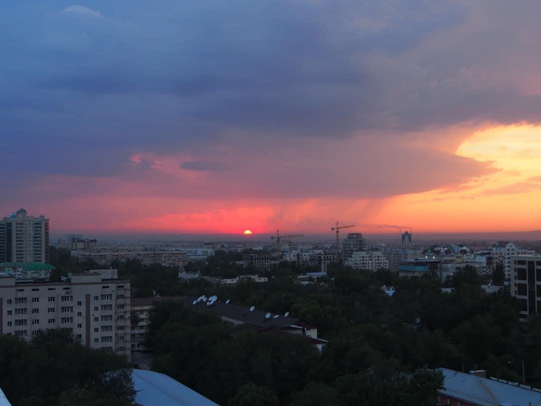 View From The Rooftop Hostel In Almaty, Kazakhstan