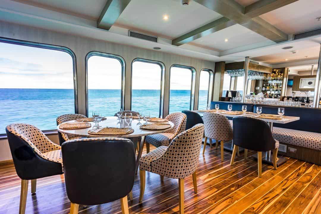 Dining Room Bar Ecoventura Itinerary A Review Origin Galapagos Islands