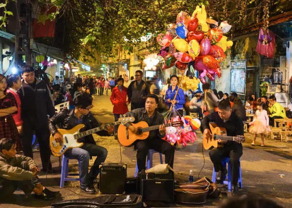Band playing in street Hanoi