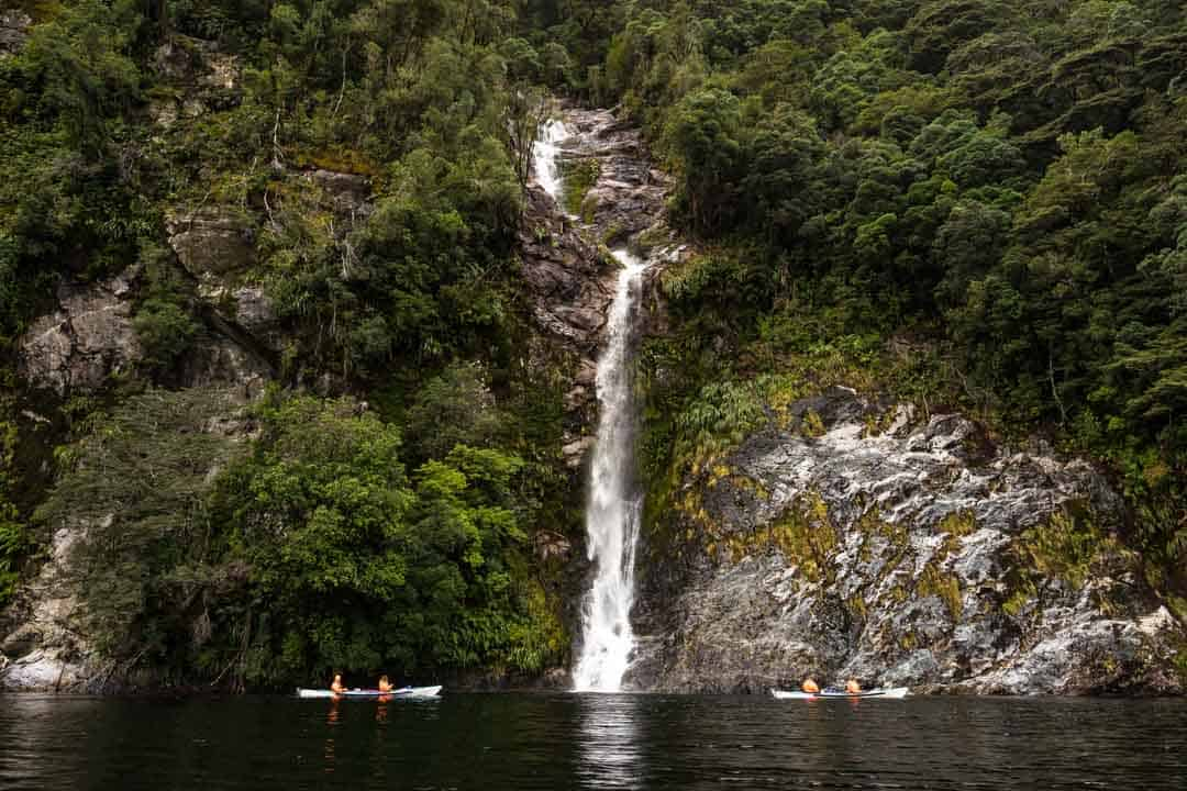 Kayaking Waterfalls Doubtful Sound