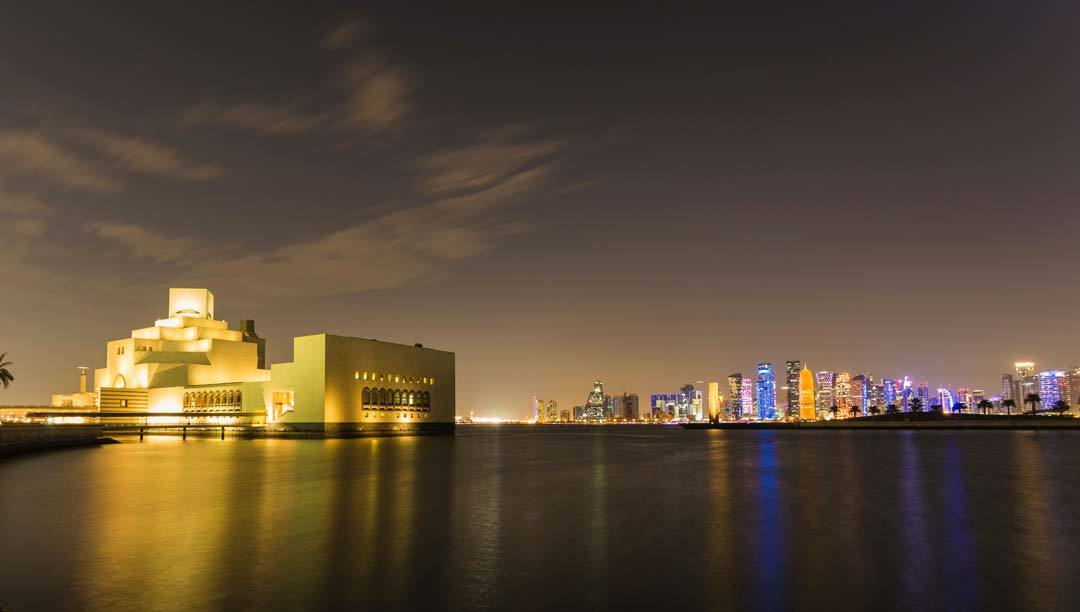 Night views of the city of Doha