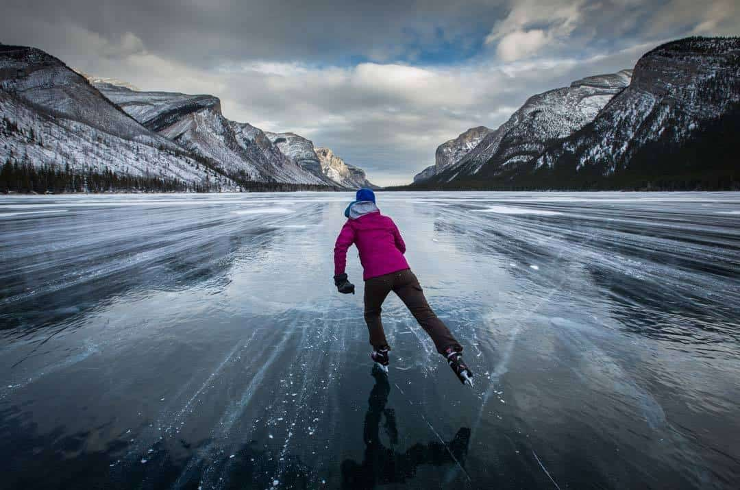 Ice Skating Lake Minnewanka Paul Zizka Photography