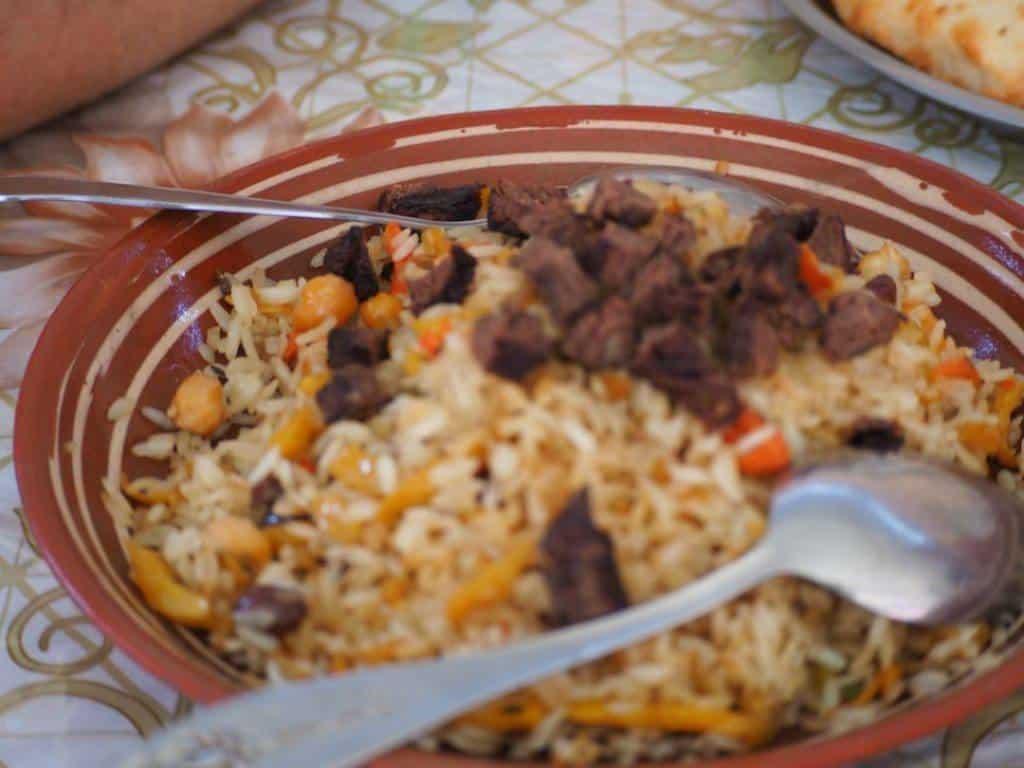Eating Plov in Tashkent