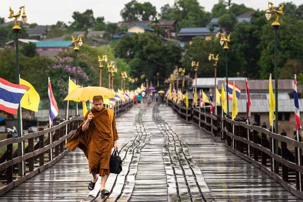 Monk Walking Mon Bridge Things To Do In Kanchanaburi