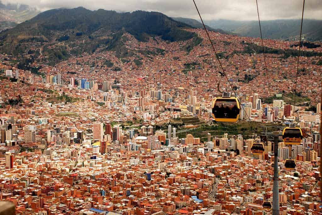 Riding the cable car is a spectacular thing to do in La Paz, Bolivia