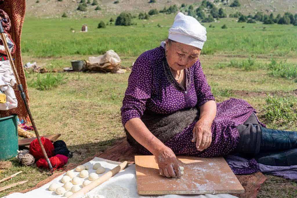 Baking Bread Sary Mogol Kyrgyzstan