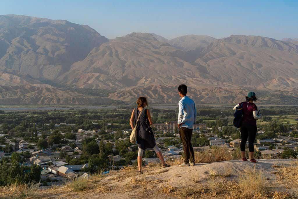 People Overlooking Panjakent