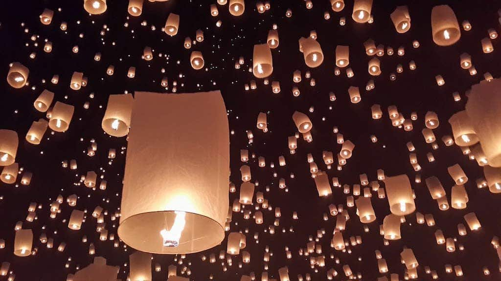 The Floating Rice Paper Lanterns Of The Yi Peng Festival