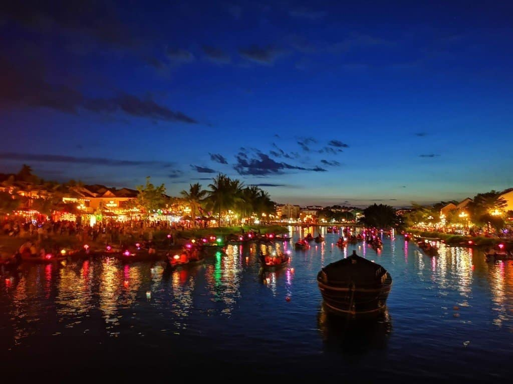 The magical Hoi An light up at night with lanterns everywhere