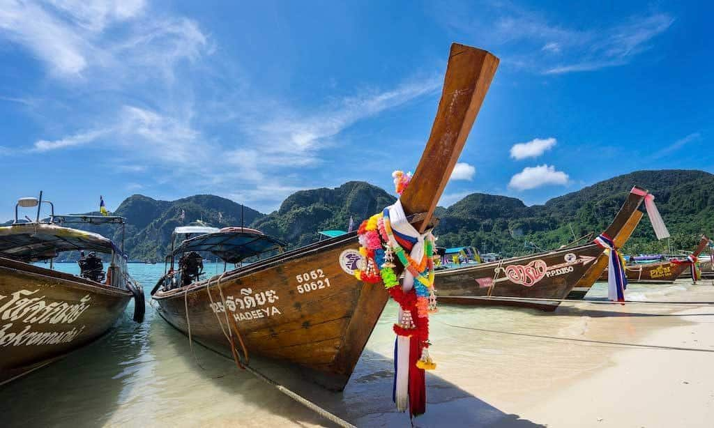 The Colorful Long Tail Boats Of Koh Phi Phi