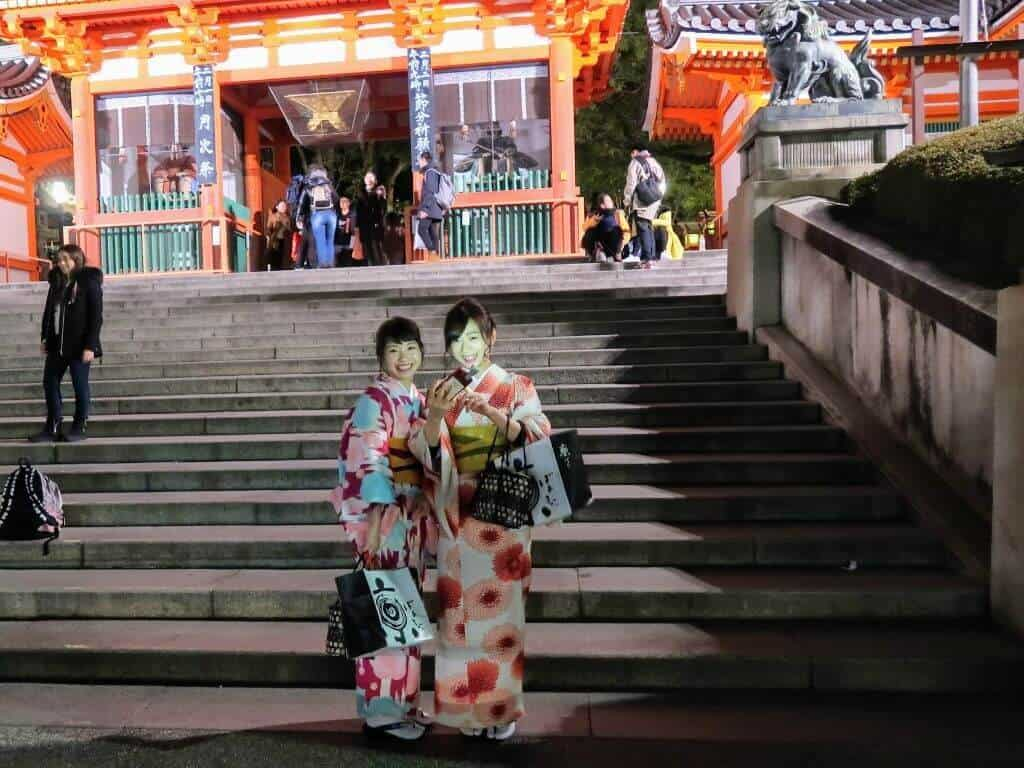 Striking A Pose In Front Of The Yasaka Shrine Gate