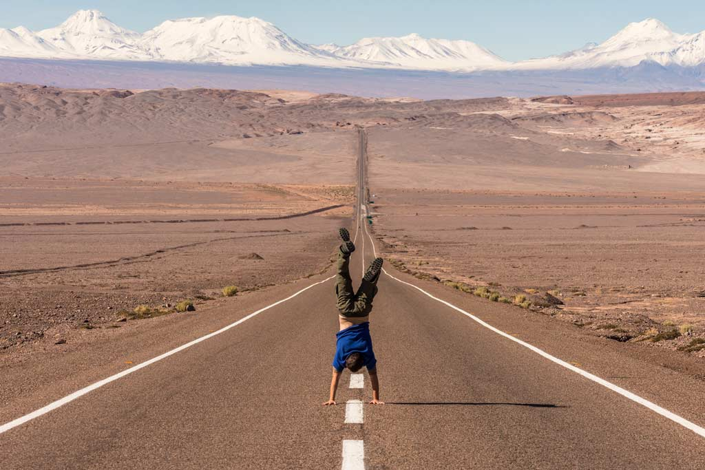 Handstand on long road