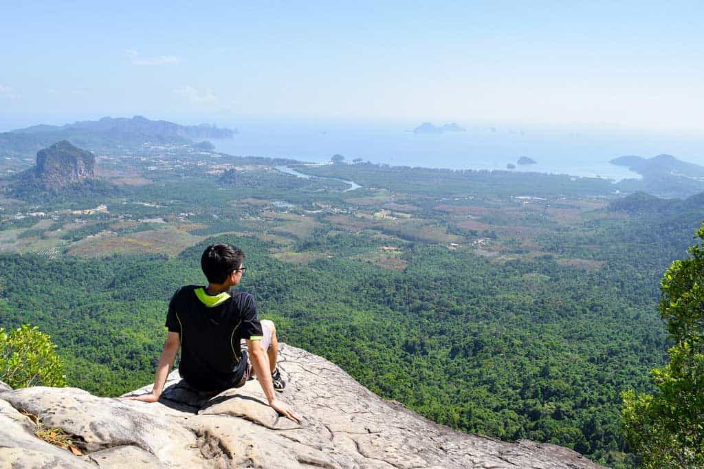 The surreal view of Khao Ngon Nak Viewpoint over the vast rainforest in Krabi.