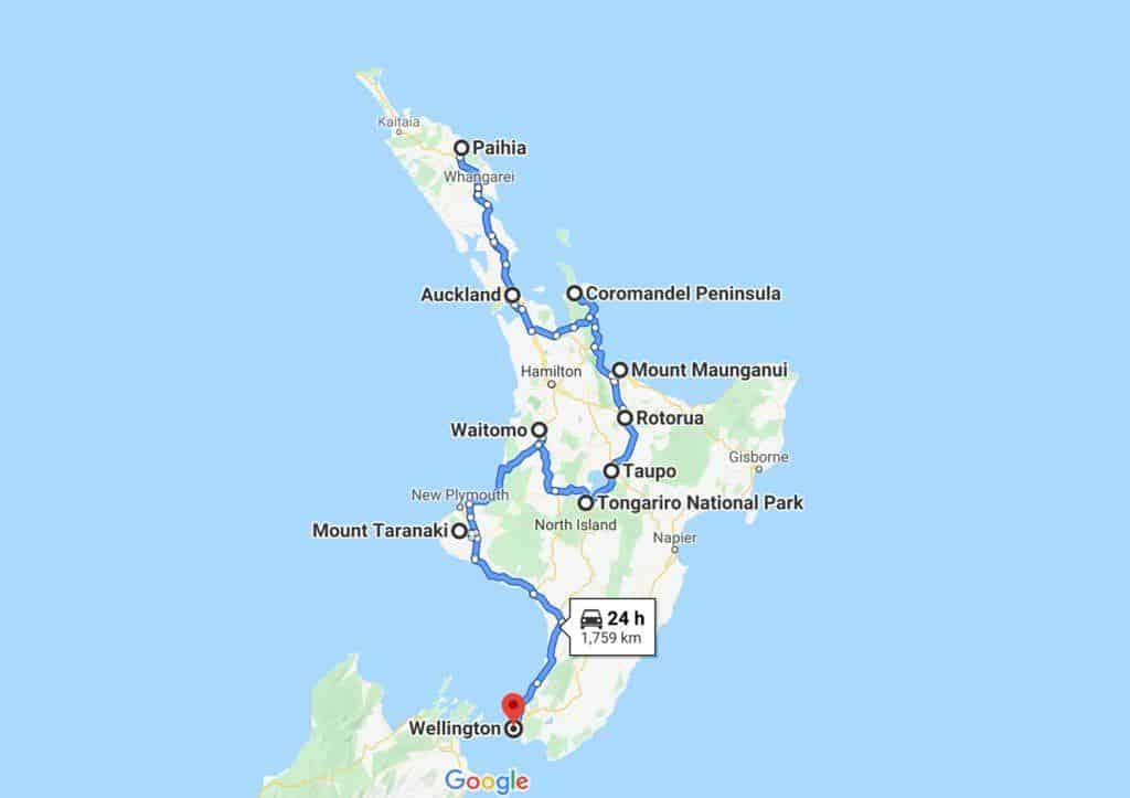 New Zealand North Island Road Trip Map
