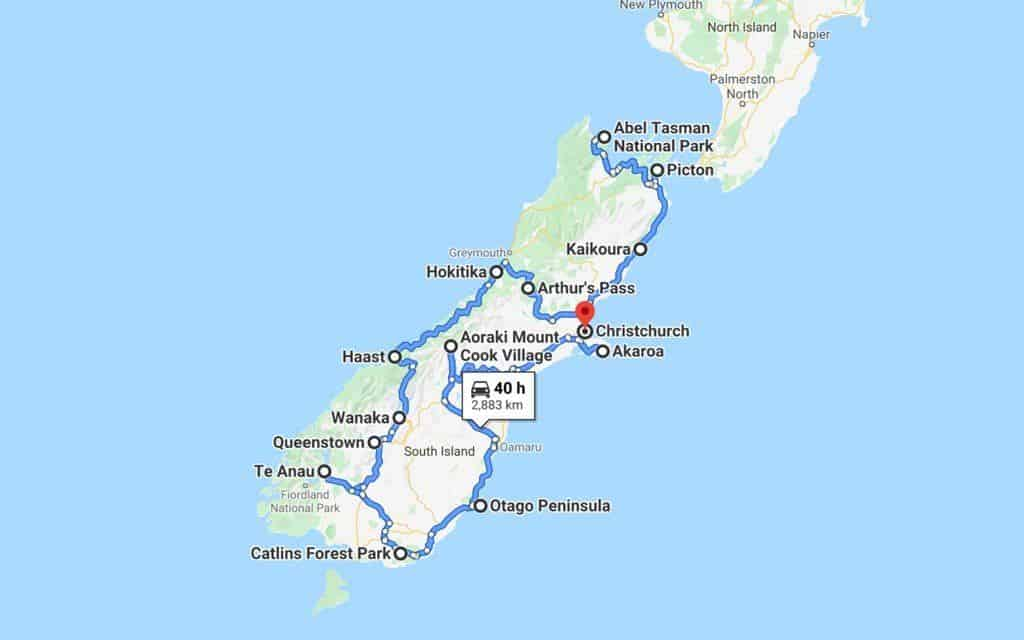 New Zealand South Island Road Trip Map