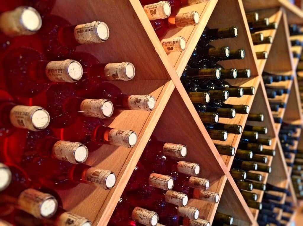 Wine Bottles Stacked In A Cellar