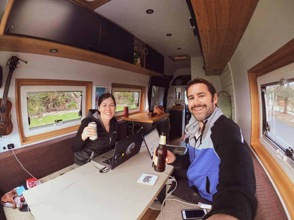 Smiling Us Working In Van