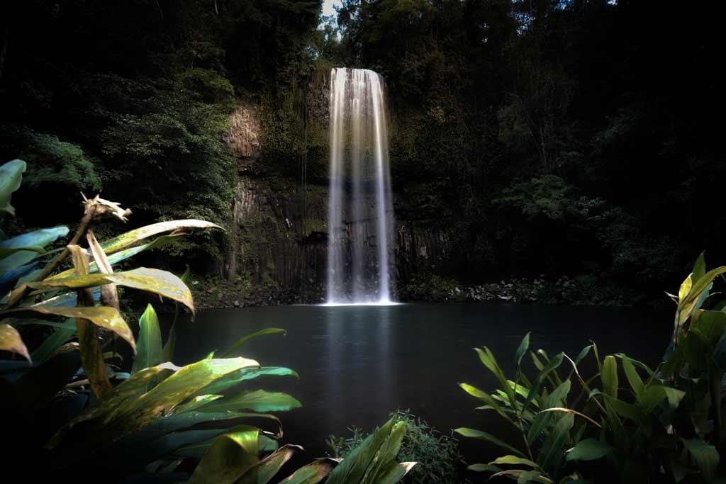 Slow Shutter Speed Underexposed Waterfall