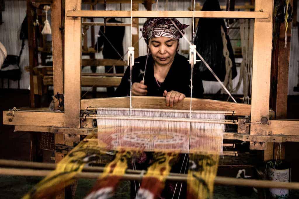 Uzbek Lady Silk Weaving
